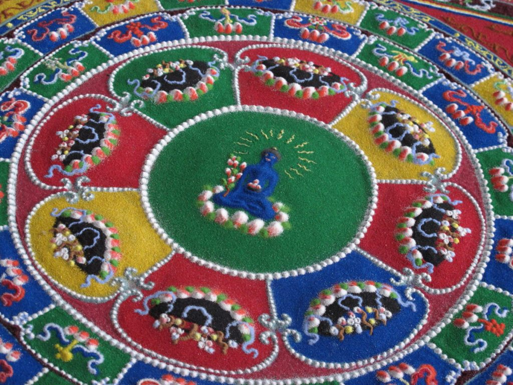 blue medicine sand mandala